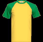 Zeleno žlté tričko s farebnými krátkymi rukávmi