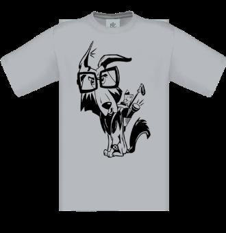 *P003 Pánske tričko Pes turista čierna tlač