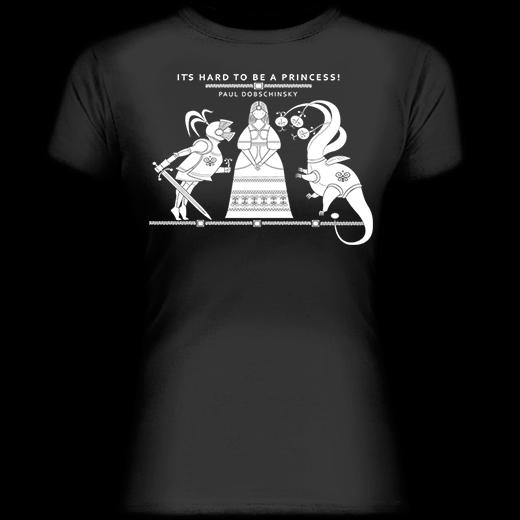 It's hard to be a princess! Čierne dámske tričko z kolekcie Pavol Dobšinský