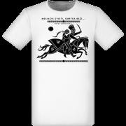 Mesiačik svieti, smrťka beží. Biele pánske tričko z kolekcie Pavol Dobšinský